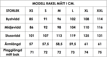 Måttlista modell Rakel