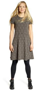Ullklänning Karina Blomma svartbeige