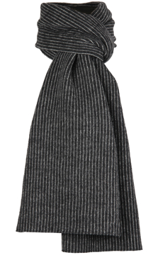 Halsduk i filtad ull – Tät rand svartvit
