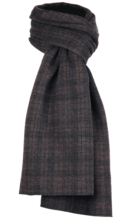 Halsduk i filtad ull – Tunn ruta brun