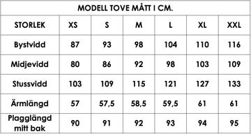 Måttlista modell Tove