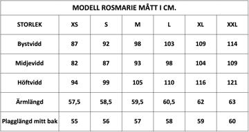 Måttlista modell Rosmarie