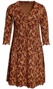 Ullklänning Anneli Storblommig konjak